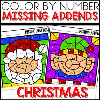 Color by Number Christmas missing addends