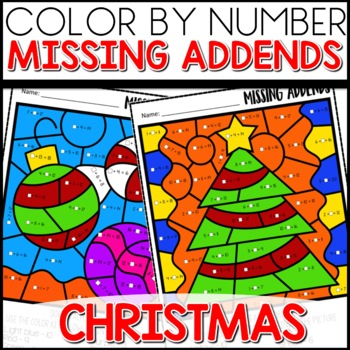 Color by Number Christmas missing addends | Math Worksheets