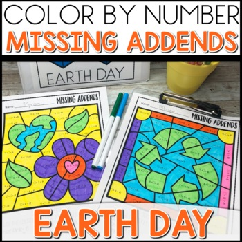 Color by Number (missing addends) EARTH DAY Themed