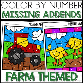 Color by Number (missing addends) FARM LIFE Themed