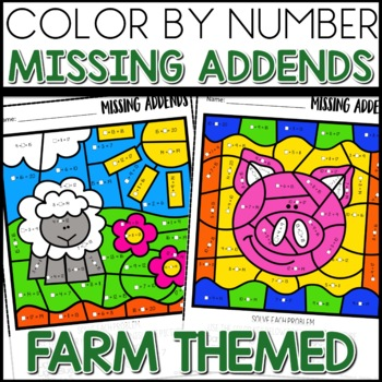 Color by Number |missing addends| FARM LIFE Themed| Math Worksheets