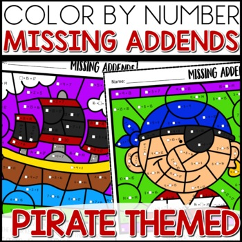 Color by Number (missing addends) PIRATE Themed