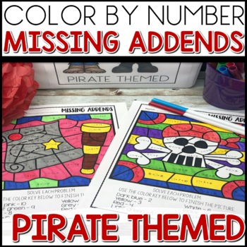 Color by Number |missing addends| PIRATE Themed | Math Worksheets