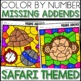 Color by Number (missing addends) SAFARI Themed