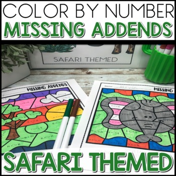 Color by Number |missing addends| SAFARI Themed | Math Worksheets