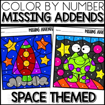 color by number missing addends space themed tpt. Black Bedroom Furniture Sets. Home Design Ideas