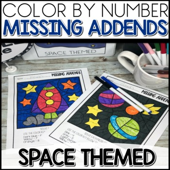 Color by Number  missing addends  SPACE Themed   Math Worksheets