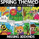 Color by Number |missing addends| SPRING Themed |Math Worksheets