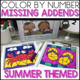 Color by Number |missing addends| SUMMER Themed |Math Worksheets