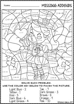 Color by Number (missing addends) St. Patrick's Day Pages