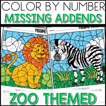 Color by Number |missing addends| Zoo Themed| Math Worksheets