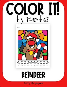 Color by Number with Holiday Reindeer