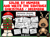 Christmas Color by Number with Sentence Writing {Morning Work for Kindergarten}