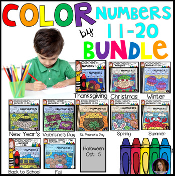 Color by Code Numbers 11-20 Seasonal Bundle (Growing) Activities