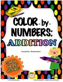 Color-by-Numbers:  Addition Fact Review - School Themed Pictures