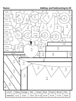Color by Numbers Back to School Addition and Subtraction to 20 worksheet