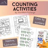 Color by Numbers, Counting Activities with Navajo clipart Worksheet Set