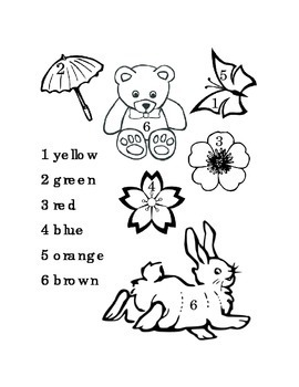 Color by Numbers One to Six Kindergarten