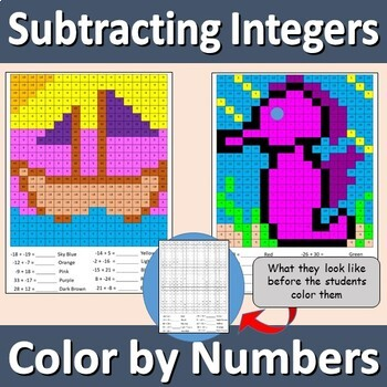 Color by Numbers - Subtracting Integers - Sailboat and Seahorse