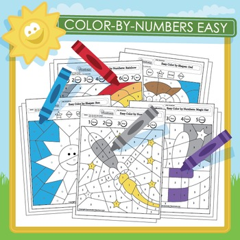 Easy Color by Numbers and Shapes - 18 Pack