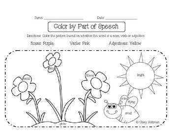 Color by Part of Speech Handouts