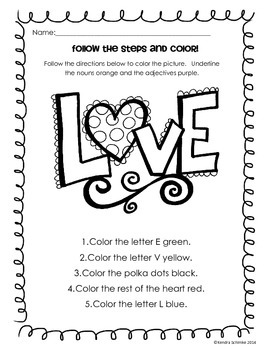 Parts of Speech Coloring Pages: Valentine's Day Edition