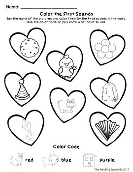Valentine's Day Color by Phonological Awareness