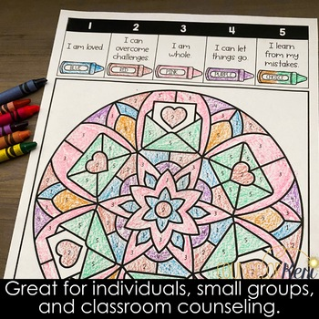 Color by Positive Affirmations Valentine's Day Counseling Activity