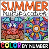 Color by Number: Summer Multiplication Facts Practice Dist