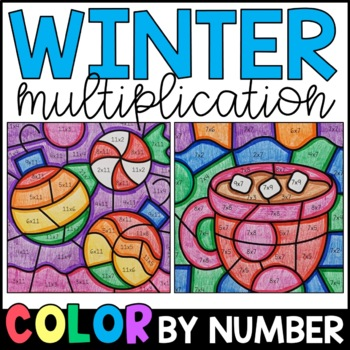 Color by Number: Winter Multiplication Facts Practice