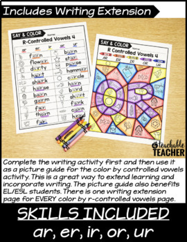 Color by R-Controlled Vowels Activities