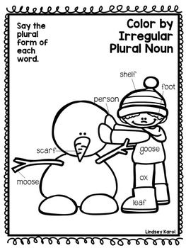 Color by Regular and Irregular Plural Nouns