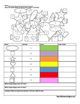 Color by Shape and Number- assessment