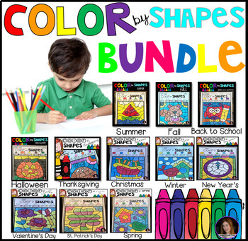 Color by Code Shapes Seasonal Bundle