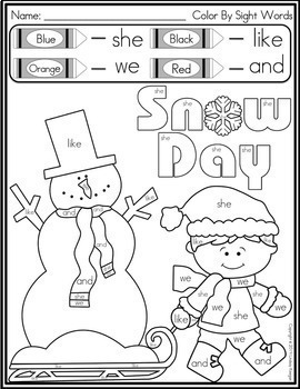 Color by Sight Word - Winter by Lindsay Keegan | TpT