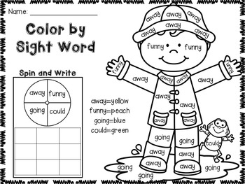 April Color by Sight Word