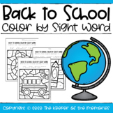 Color by Sight Word Back to School Pre-K Worksheets