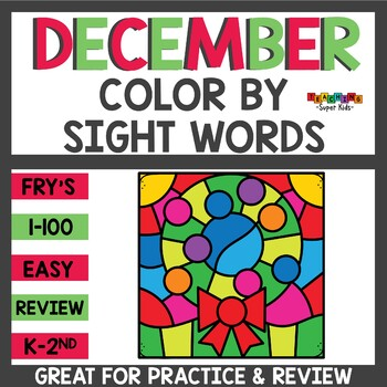 Color by Sight Word Christmas Themed