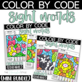 Color by Sight Word Pre-Primer and Primer Animals and Dinosaurs Bundle