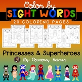 Color by Sight Word Coloring Pages {Princess & Superhero}