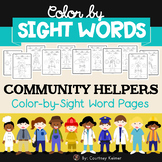 Color by Sight Word Community Helpers Coloring Pages {Pre-