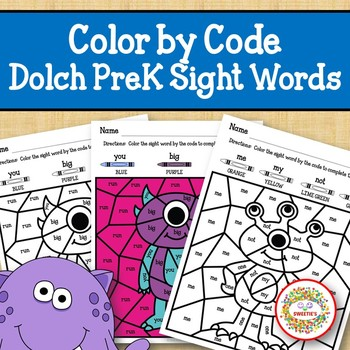 Color by Sight Word Dolch Pre Kindergarten Sight Words Monsters
