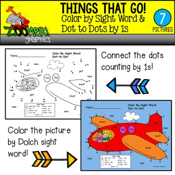 Color by Sight Word Dot to Dots by 1s