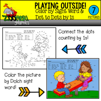 Color by Sight Word Dot to Dots by 1s Playing Outside Theme