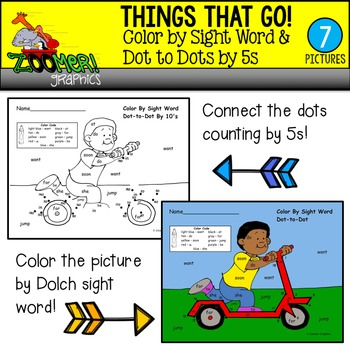 Color by Sight Word Dot to Dots by 5s