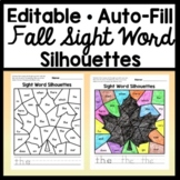 Color by Sight Word for Fall- Editable! {4 Fall Silhouettes with Auto-Fill}