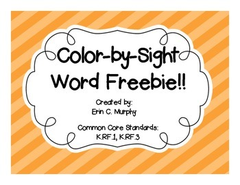 Color-by-Sight Word FREEBIE!!