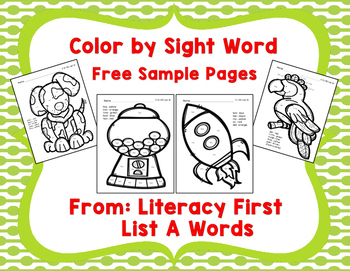 Color by Sight Word Free Sample Pages, Literacy First List A