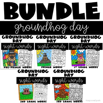 Color by Sight Word Groundhog Day