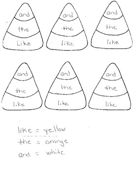 Color by Sight Word Halloween Candy Corn